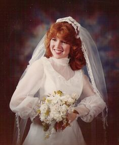 Here is a gorgeous photo collection that captured portraits of beautiful brides from the 1980s Wedding Dress, Wedding Dresses, Bridal Looks, Bridal Style, Wedding Portraits, Beautiful Bride, Vintage Dresses, Marie, Vintage Weddings