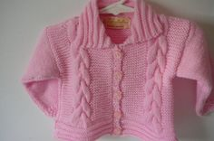 Knit Garter Stitch Cable Cardigan and Hat/Baby by fashionablekids
