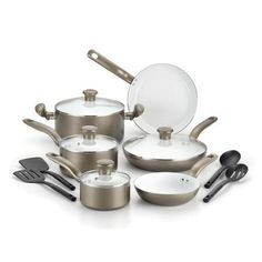 T-fal Initiatives Ceramic 14 Piece Cookware Set