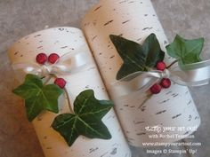 Decorated Christmas candles using the Thankful Tablescape kit's birch bark paper from Stampin' Up! - Stamp Your Art Out! www.stampyourartout...