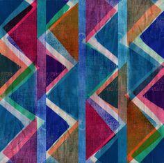 Fabric monoprint zig-zags - Sarah Bagshaw
