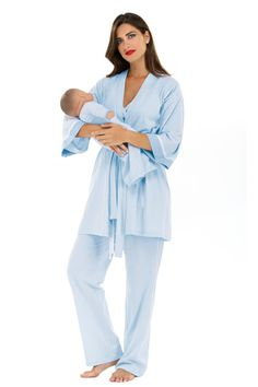 d010bbeb010 Olian Anne 4 Piece Mom And Baby Maternity And Nursing Pajama Set - Baby  Blue Micro
