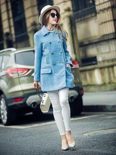 Graceful Double Breasted Blue Woolen Coat #wintercoat #bluecoat #wintercoutfit #Woolencoat #trenchcoat