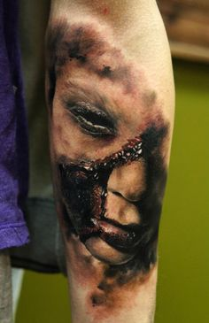 Incredible realistic horror tattoo by Domantas Parvanis from Lithuania