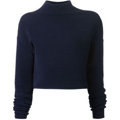 Dion Lee Ribbed Cropped Sweater ($612) ❤ liked on Polyvore featuring tops, sweaters, blue, dion lee, crop top, blue cropped sweater, rib sweater and ribbed crop top