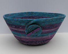 Coiled Fabric Basket, Coiled Fabric Bowl, decorative bowl, turquoise/purple on Wanelo Scrap Fabric Projects, Weaving Projects, Fabric Scraps, Rope Basket, Basket Weaving, Crochet Stitches For Blankets, Fabric Basket Tutorial, Crochet Bowl, Pine Needle Baskets