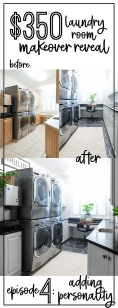 How to renovate a laundry room from top to bottom with less than $350 in the budget! See the flooring transformation, the cabinet makeover, and even the countertops have been refinished! Free Digital Scrapbooking, Marketing Automation, Cozy Home Decorating, Diy Home Decor, Digital Marketing Strategy, Farmers Market, Laundry Room Signs, Laundry Rooms, Cabinet Makeover