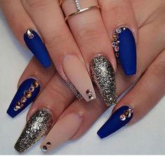 These are gorgeous Nails by __ by wickedbeautificat… These are gorgeous Nails by __ by wickedbeautification Long Nails. Sexy & GorgeoMost Gorgeous Nails To Acrylic Nail Designs a Navy Blue Nails, Coffin Nails Matte, Blue Acrylic Nails, Acrylic Nail Designs, Glitter Nails, Nail Art Designs, Nude Nails, Gold Glitter, Blue Nails With Glitter