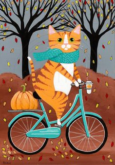 Autumn Fat Ginger Cat on a Bicycle Original Folk Art Painting Copyright © Ryan Conners
