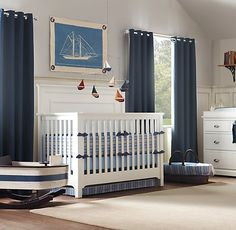 Restoration Hardware Baby & Child  Sailboat canvas and mobile -- no longer available but maybe I could DIY??