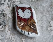 Red and Brown Beach Pottery Owl
