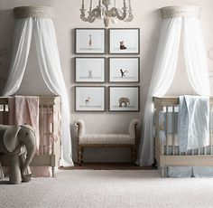 RH baby&child's Heirloom White Demilune Carved Wood Canopy Bed Crown:A French antique from the mid-1800s inspired our wall-mounted wood bed canopy. Its classic floral carvings lend a gentle sophistication – especially when outfitted with the drapery panels of your choice.