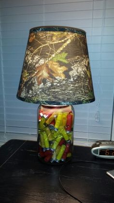 Shotgun shell lamp made with gallon size mason jar