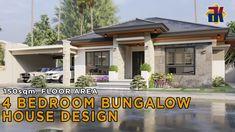 Bungalow Exterior, Bungalow House Plans, Bungalow House Design, Dream House Plans, 4 Bedroom House Designs, Small Bungalow, Family House Plans, Animation, Interior