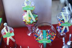 Candy jars at a Sesame Street Party #sesamestreet #candyjars