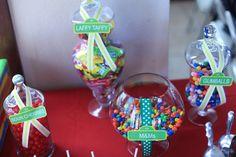 Candy jars at a Sesame Street Party #sesamestreet #candyjars
