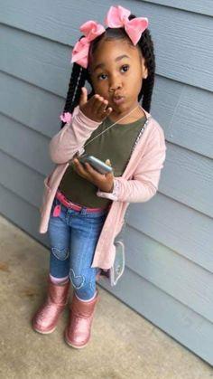Little Girl Swag, Cute Little Girls Outfits, Kids Outfits Girls, Toddler Girl Outfits, Cute Black Kids, Beautiful Black Babies, Cute Kids Fashion, Little Girl Fashion, Cute Mixed Babies