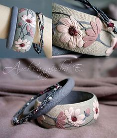 Wonderful Ribbon Embroidery Flowers by Hand Ideas. Enchanting Ribbon Embroidery Flowers by Hand Ideas. Polymer Clay Kunst, Fimo Clay, Polymer Clay Projects, Polymer Clay Creations, Ceramic Clay, Clay Beads, Polymer Clay Embroidery, Ribbon Embroidery, Embroidery Designs