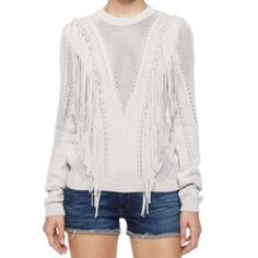 Torn by Ronny Kobo Fringe Sweater SOLD OUT! Size M Slinky knit fringe sweater from Torn by Ronny Kobo. Crew neck, long sleeve. Excellent condition! Amazing sweater, sold out at all retailers. Viscose/nylon blend, beautifully made. Torn by Ronny Kobo Sweaters Crew & Scoop Necks