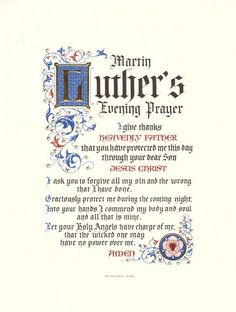 Martin Luther's Evening Prayer -- Reading short works by Luther in preparation for the trip. -- Freiheit des Christenmenschen-- Hermann Ehlers read this at the end of -- Prayers to use in Germany Reformation Day, Protestant Reformation, Christian Faith, Christian Quotes, Martin Luther Quotes, Martin Luther Reformation, 5 Solas, Evening Prayer, Soli Deo Gloria
