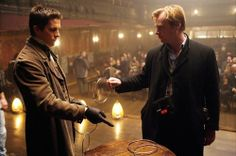 Christian Bale and Christopher Nolan on-set of The Prestige.