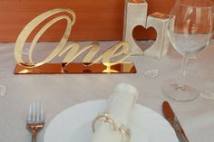 Gold Mirror Table Numbers Wedding Table by FranJohnsonHouse