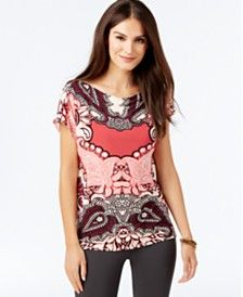 INC International Concepts Zipper-Trim Printed Top, Only at Macy's