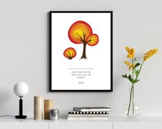 Red tree wall art, a vector illustration with motivationa quatation by RIXdiary on Etsy Yellow Tree, Red Tree, Tree Wall Art, Wall Art Decor, Purple Orchids, Paper Wallpaper, Pillow Fabric, Digital Wall, Scrapbook Stickers