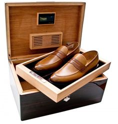 Bally Scribe is one such brand, who has now introduced made to order limited edition cigar humidors, which can also double up as a stylish shoe rack! Me Too Shoes, Men's Shoes, Shoes Style, Men's Style, Dress Shoes, Cigar Gifts, Crockett And Jones, Fashion Shoes, Mens Fashion