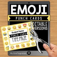 """Emoji Punch cards for behavior, incentives, homework, prizes and more.  Editable on Adobe and PowerPoint.  Type student names and the """"prize"""" or earned item on the punch cards.  Or print and write for a personalized look.Use a hole punch to punch an Emoji whenever students return homework, show expected behavior, pass an AR quiz, etc.This editable Emoji punch card set comes with 3 styles.Zip file includes: 3 styles of punch cards in an Adobe editable PDF. 3 styles of punch cards to edit on…"""
