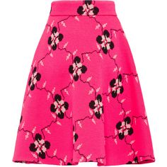 SKIRT (€1.605) ❤ liked on Polyvore featuring skirts, pink floral skirt, floral flare skirt, flared skirts, floral printed skirt and pink jersey