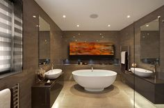 Fire in the Bath!  Fire is an abstract landscape shown above in a bathroom setting. 48″ x 18″  Transfer onto copper.  We custom build our art pieces - what size do you need?