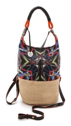 M Missoni Frequency Canvas / Raffia Bag