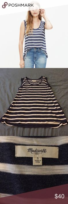 Madewell blue and white stripped top Loose swingy fit. Great condition. Madewell Tops