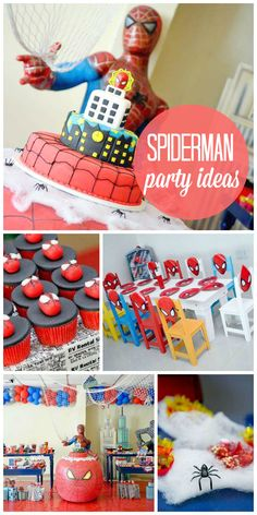 An amazing Spiderman boy birthday party with red and blue decorations and treats! See more party planning ideas at CatchMyParty.com!