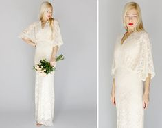 May: Bohemian hippie wedding gown dress with draped kimono sleeves, vintage inspired lace dress, sheath classic modern