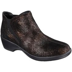 Skechers Bronze Sparkler Flexibles Suede Ankle Boot (52 AUD) ❤ liked on Polyvore featuring shoes, boots and ankle booties