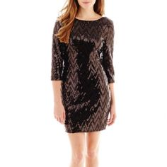 jcpenney | Love Reigns 3/4-Sleeve Chevron Sequin Dress