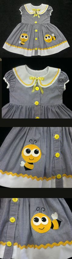 Vestido Aplicação Abelhinha - Bumble Bee Dress - - - - - - - - - - - Molde grátis no grupo do facebook (free pattern in facebook group)  https://www.facebook.com/groups/1594730384185604/  ..........................  (RLevyFile-VestidoAbelhinha3anos-HappyBumbleBeeDress3years)  ........................... baby - infant - toddler clothes for girls - vestido - menina