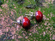 Red dot ceramic earrings