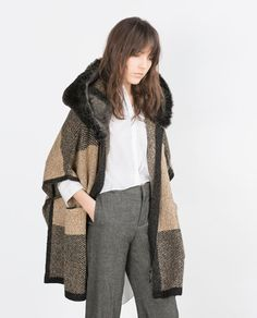 Image 5 of PONCHO WITH FAUX FUR HOOD from Zara