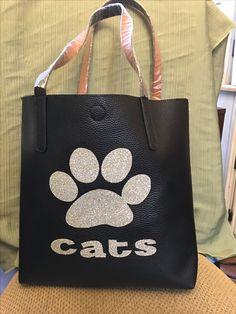 Reversible black tan brown tote purse bag bling wildcat paw cats calallen $30