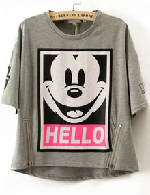 Grey Short Sleeve Mickey Print Zipper T-Shirt