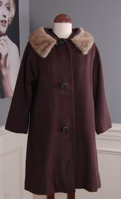 Rags 2 Vintage - Vintage 50s 60s Wool Coat with Fur collar, $75.00 (http://www.rags2vintage.com/vintage-50s-60s-wool-coat-with-fur-collar/)