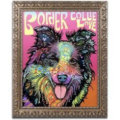 Trademark Fine Art 'Border Collie Luv' Canvas Art by Dean Russo, Gold Ornate Frame, Assorted