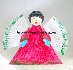 Christmas Angel made from paper plate #easy toddler crafts