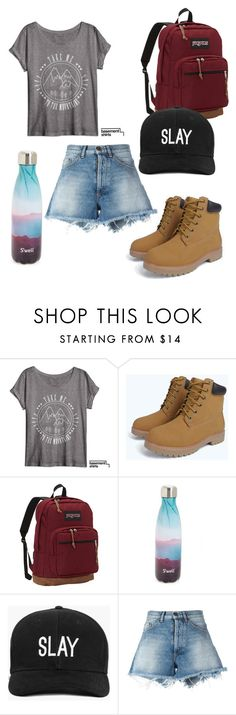"""""""Hiking outfit"""" by fantasymystic-luv on Polyvore featuring JanSport, S'well, Boohoo and Off-White"""