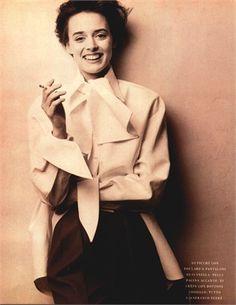 Photo by Patrick Demarchelier 1988  Pantaloni e camicia Gianfranco Ferré  Vogue Italia, luglio agosto 1988