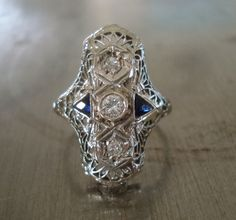 Edwardian Diamond and Sapphire Engagement Ring  by AntiqueSparkle, $865.00