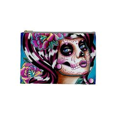 Cosmetic Bag Case Day of the Dead Dia De Los por NeverDieArt, $11.99